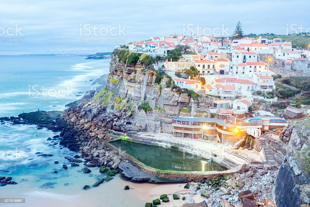 Azenhas do Mar village at dusk Portugal stock photo