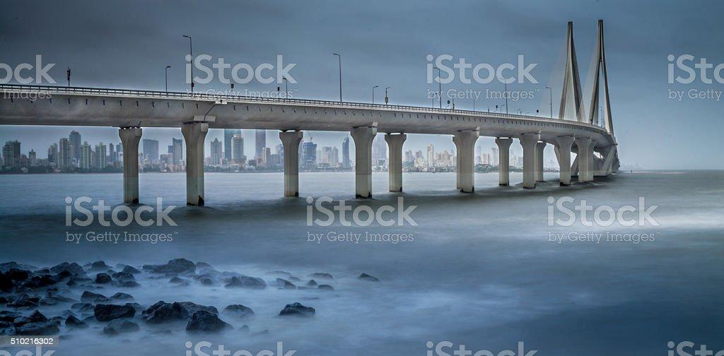 Sea link in Mumbai during Monsoon season stock photo