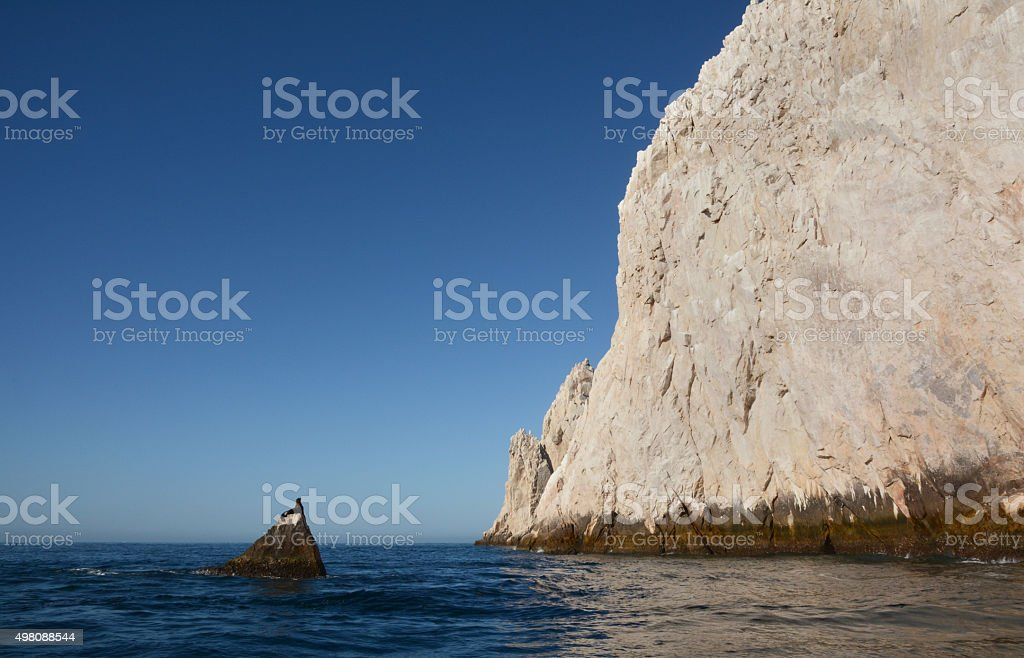 Sea Lion on a Small Rock Looking Towards a Large Rock royalty-free stock photo