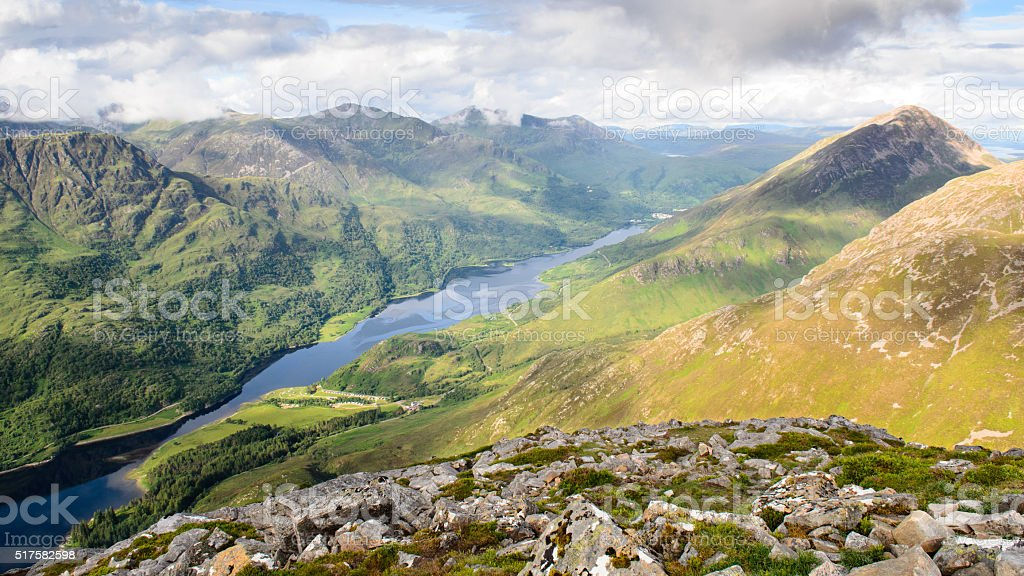 Sea loch between the mountains stock photo