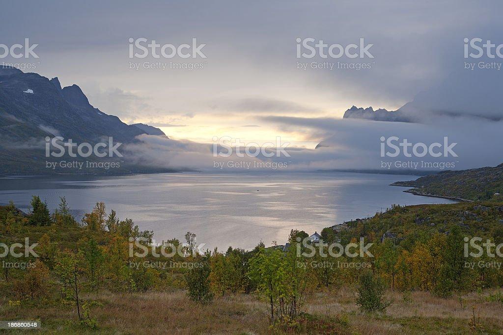 Sea Mist at Ersfjordbotn, Arctic Norway. royalty-free stock photo