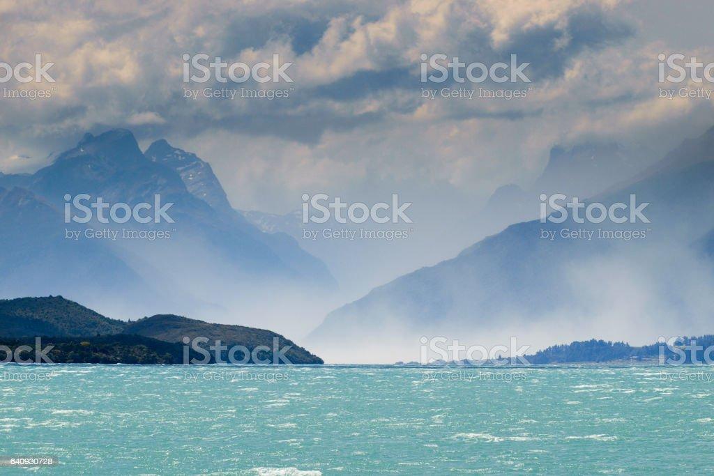 Sea Mist on Lake Wakatipu stock photo