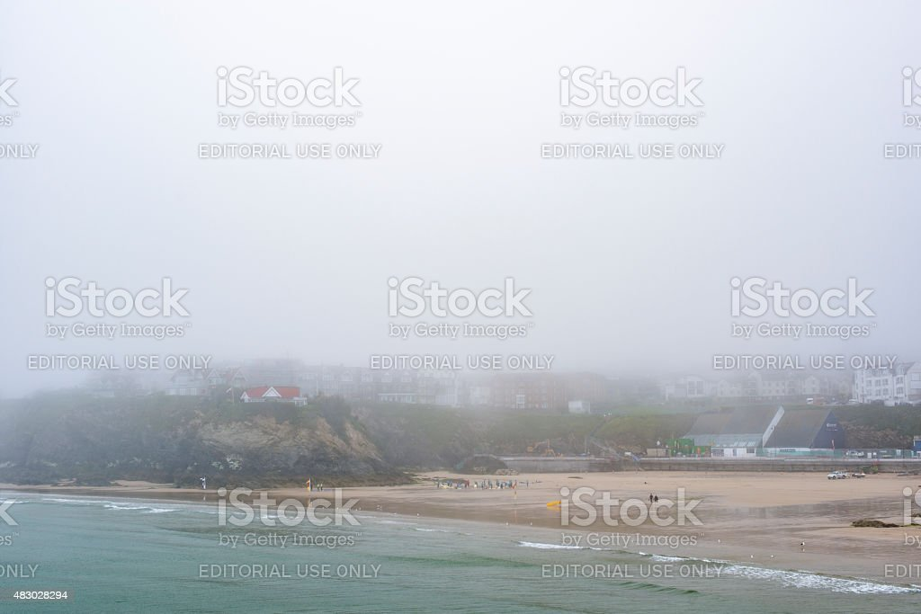 Sea Mist over Newquay on a June Day stock photo
