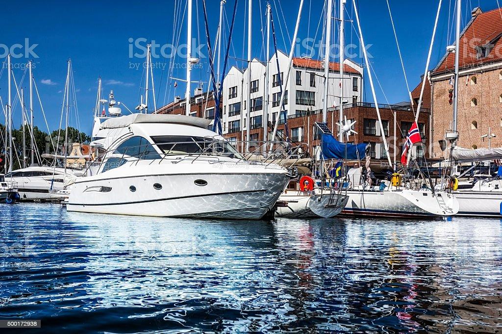 Sea motor boat in marina, Gdansk stock photo