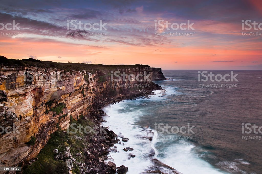 Sea N Head Cliff sunset stock photo