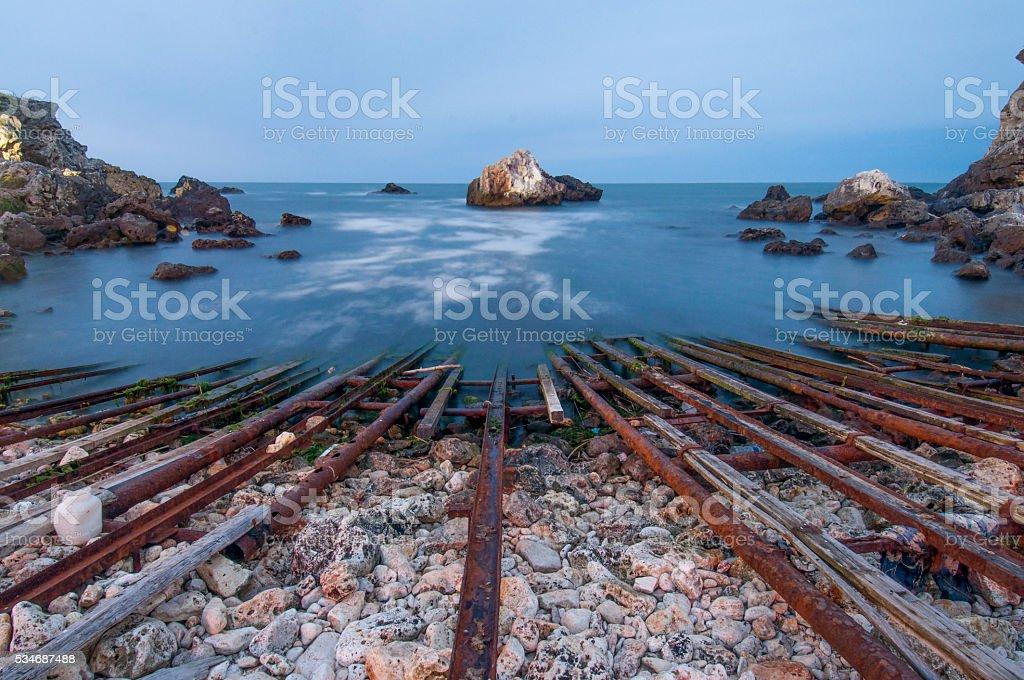 sea, night, bay stock photo