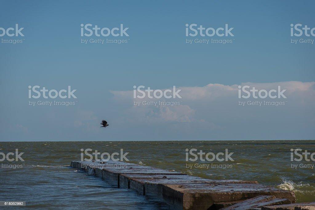 Sea of Azov. Ukraine. Donetsk region. City Mariupol. stock photo
