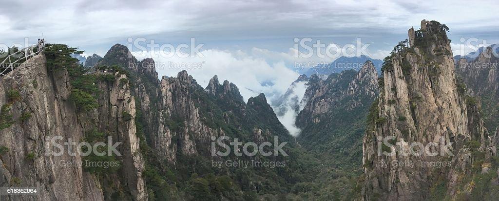 Sea of clouds in Huangshan Shixin peak 01 stock photo