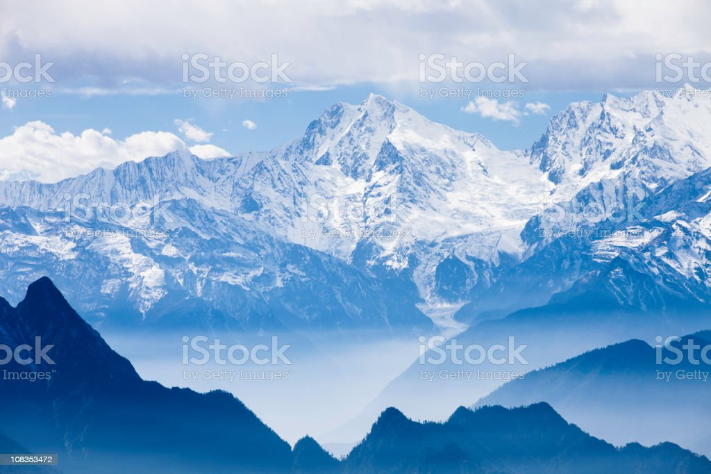 sea of clouds landscapes in china stock photo