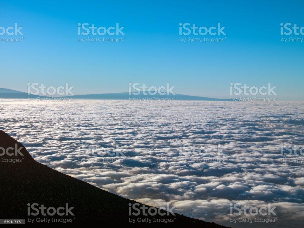 Sea of Clouds Maui Island Haleakala Volcano Top View USA stock photo