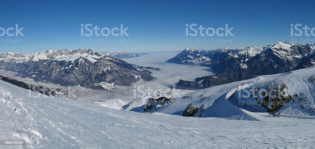 Sea of fog and mountains in St Gallen Canton stock photo