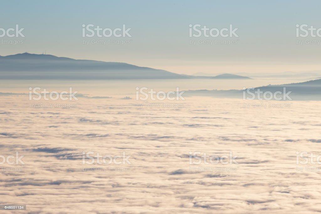 A sea of fog stock photo