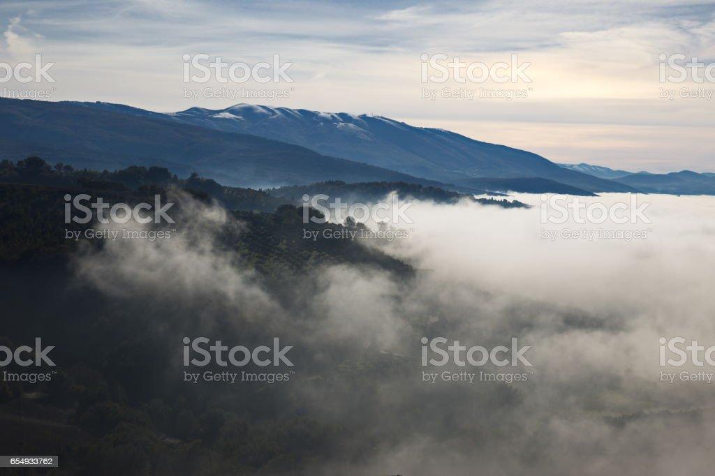 Sea of fog stock photo