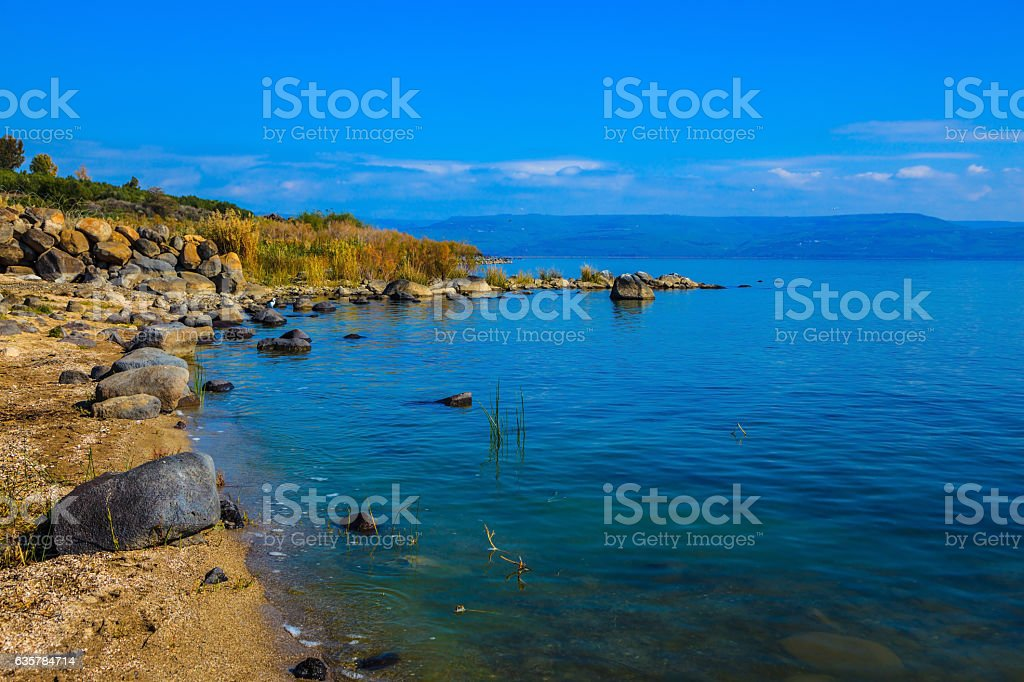 Sea of Galilee in Israel stock photo