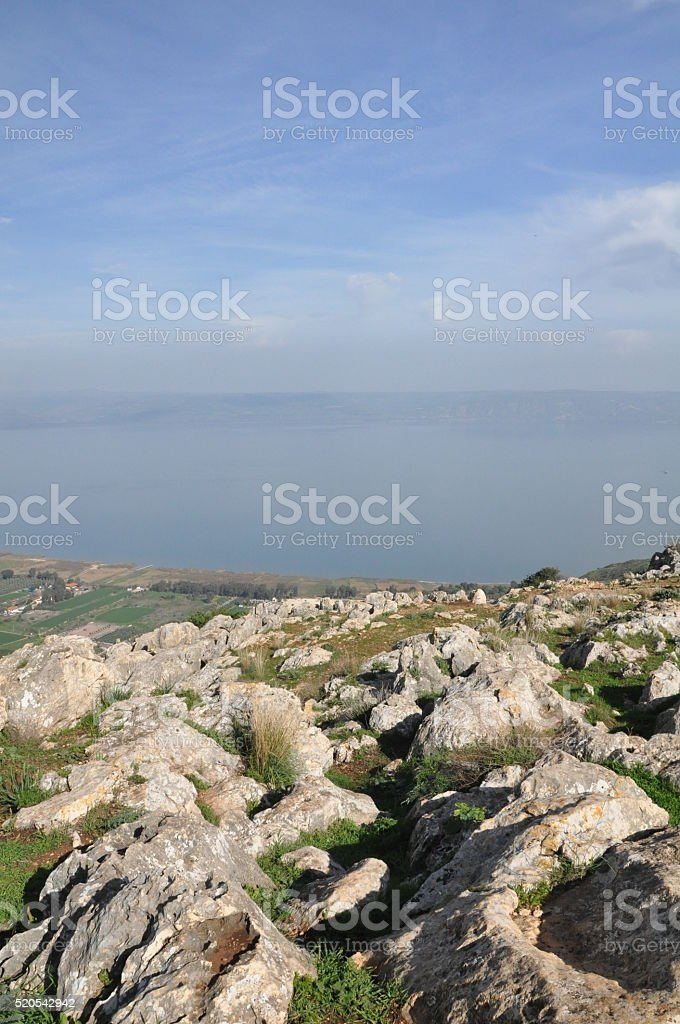 Sea of Galilee Seen from Mount Arbel stock photo