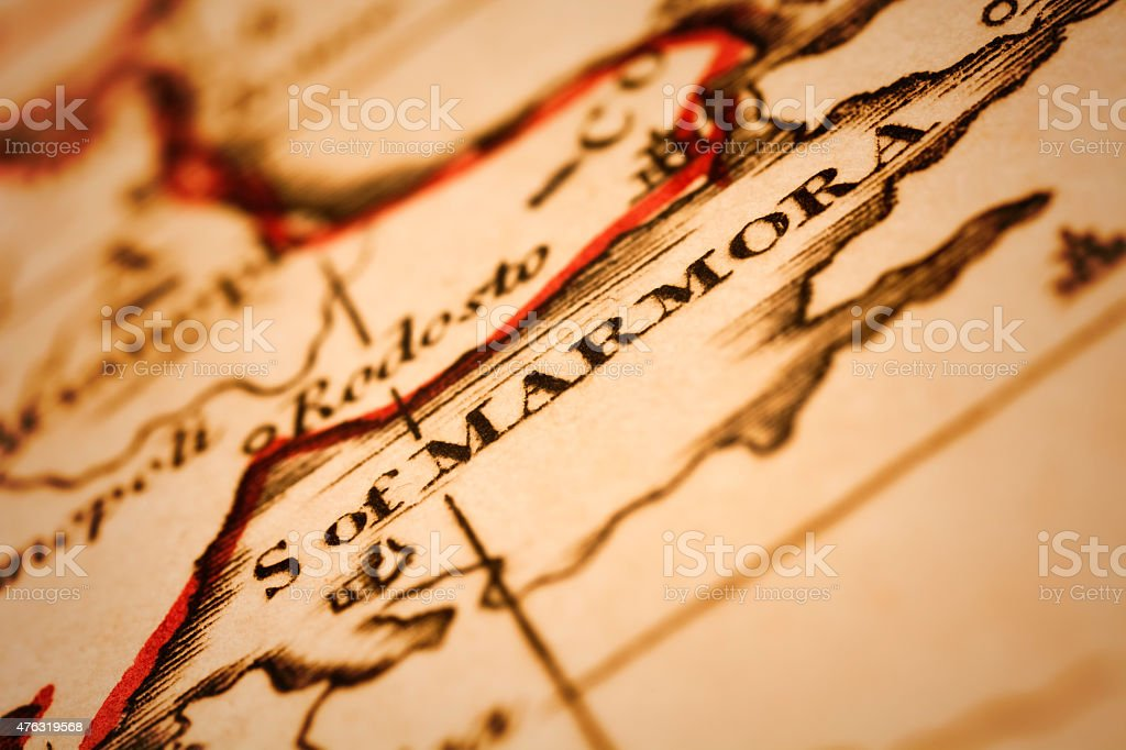 Sea of Marmara on an Antique map stock photo