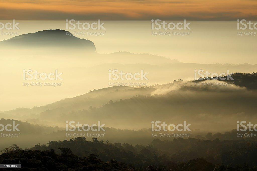 Sea of mist on sunrise at Doi Inthanon, Chiang Mai royalty-free stock photo