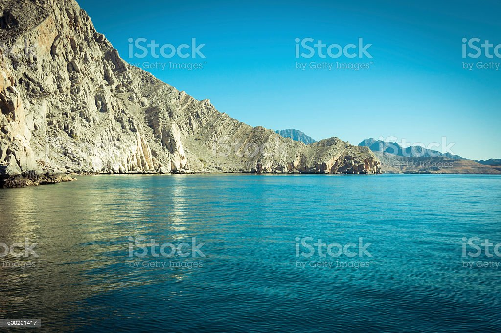 Sea of Musandam peninsula , December 2013, Oman stock photo