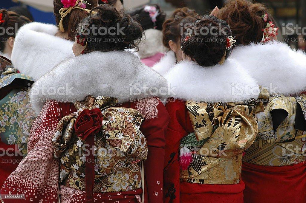 sea of red kimonos royalty-free stock photo