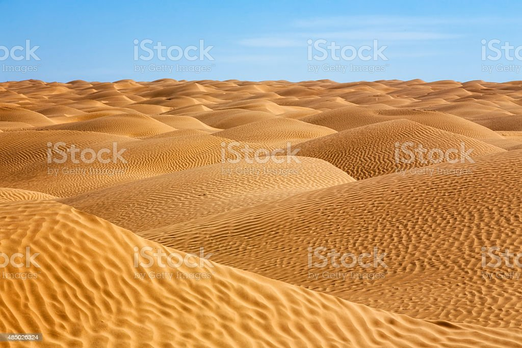 Sea of sand in the Sahara Desert of Tunisia stock photo