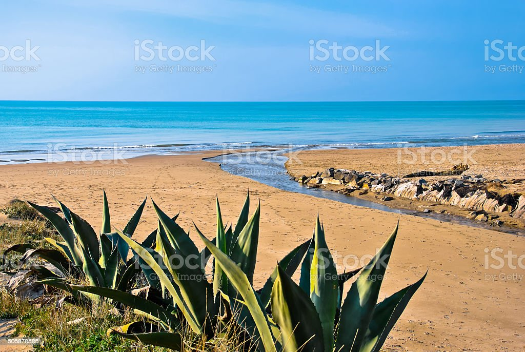 Sea of Torvaianica in Italy stock photo