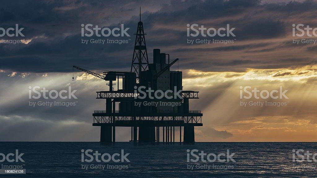 Sea oil rig royalty-free stock photo