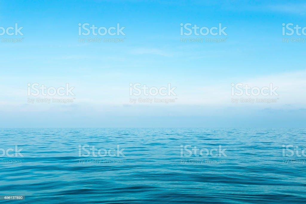 Sea on blue sky background stock photo