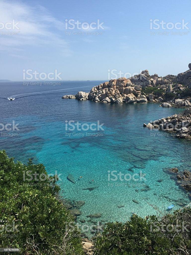 Sea panorama Cala Spinosa Capo Testa S.Teresa Sardinia stock photo