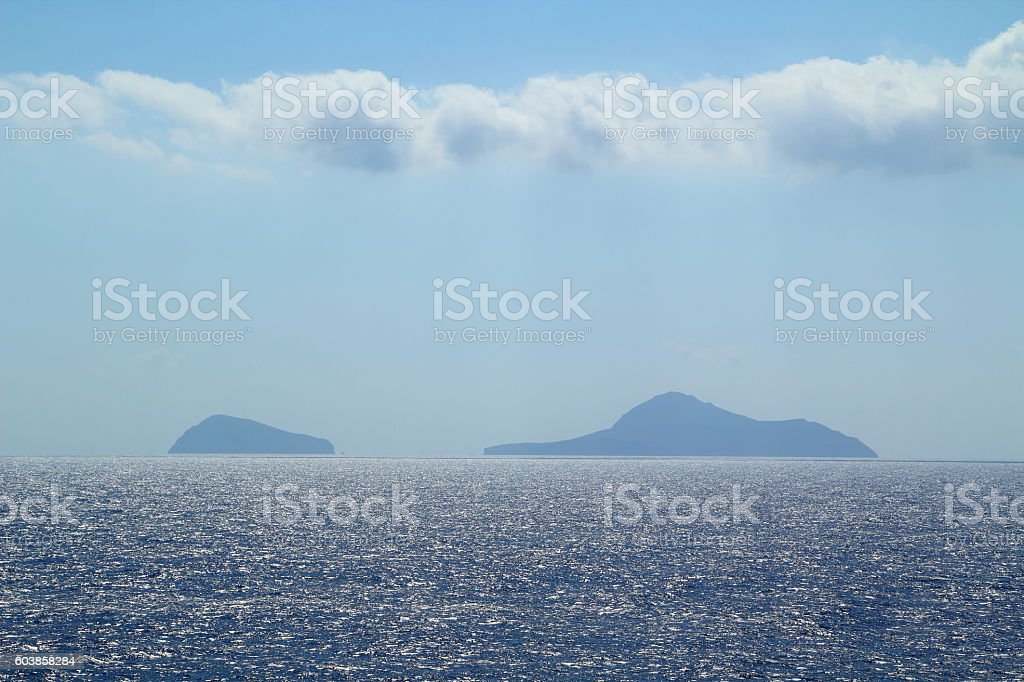 sea panorama with islands stock photo
