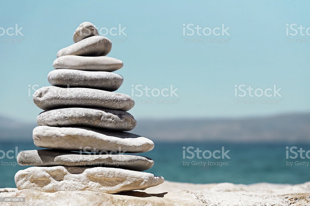Sea Pebbles in the Shape of Tree or Pyramid stock photo