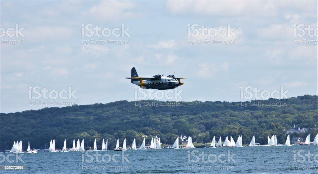 Sea Plane and Regatta stock photo