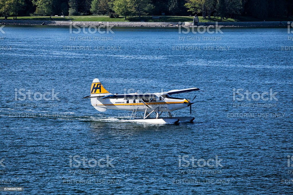 Sea plane at Vancouver harbour stock photo
