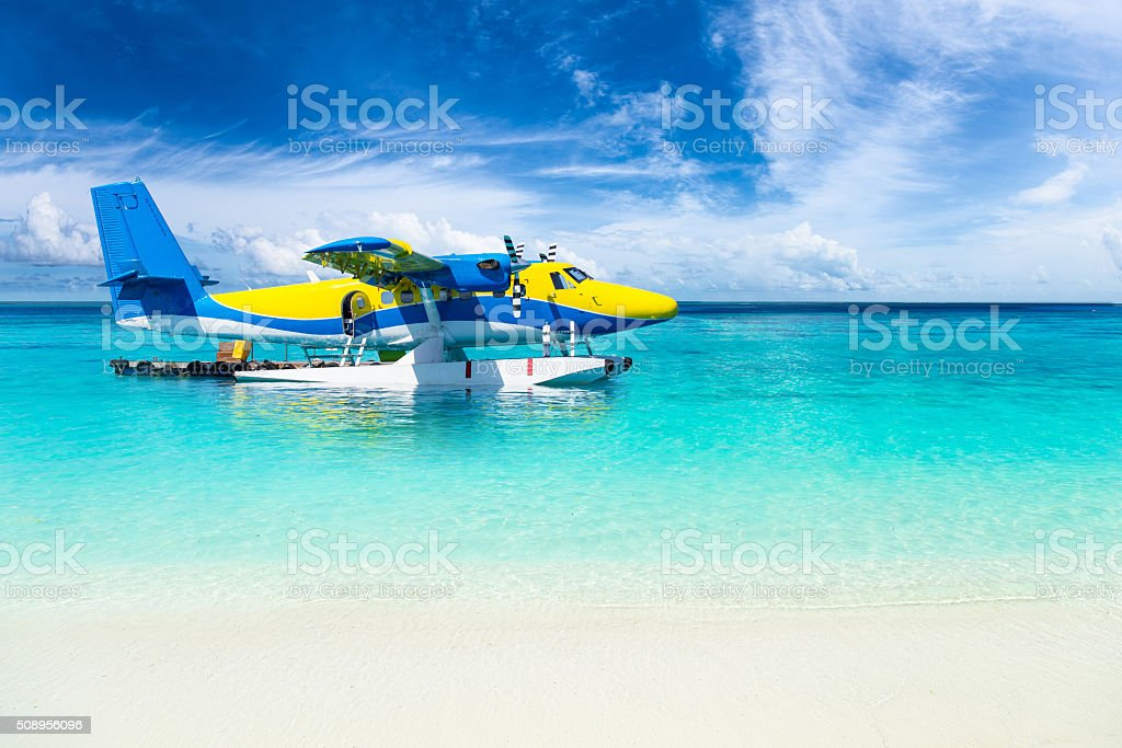 sea plane in the indian ocean stock photo