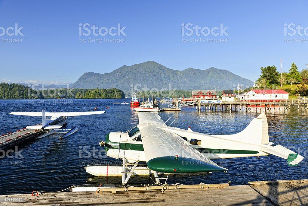 Sea planes at dock in Tofino, Vancouver Island, Canada royalty-free stock photo