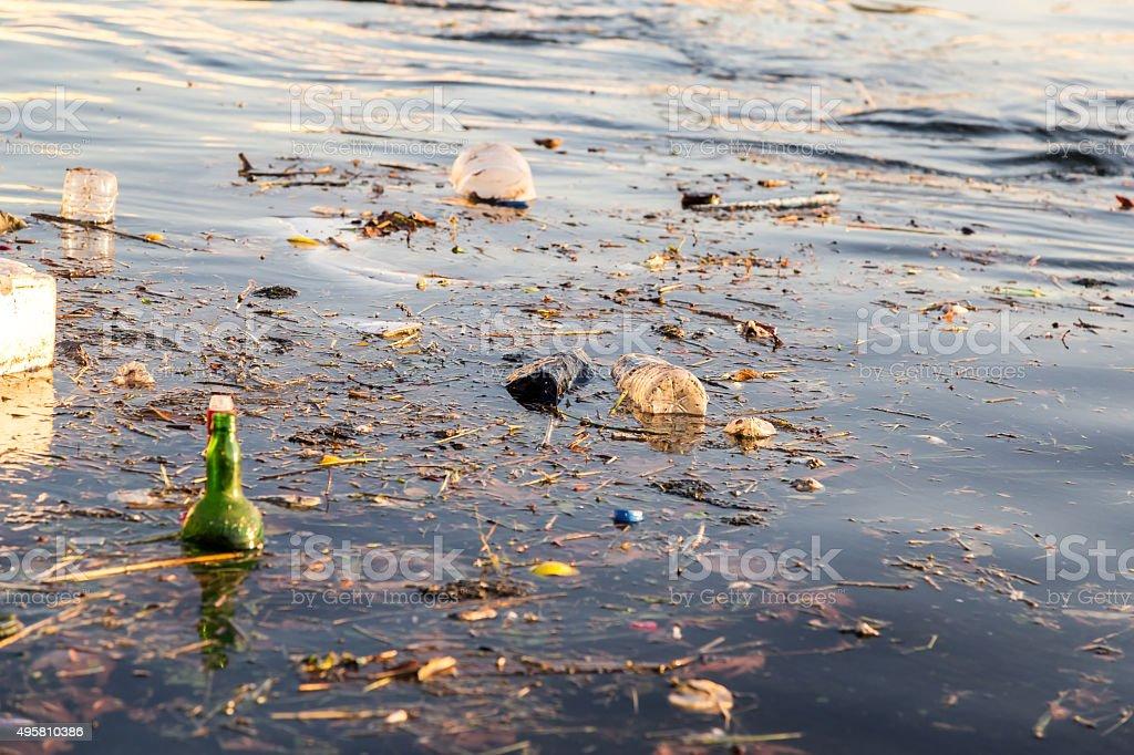 Sea pollution stock photo
