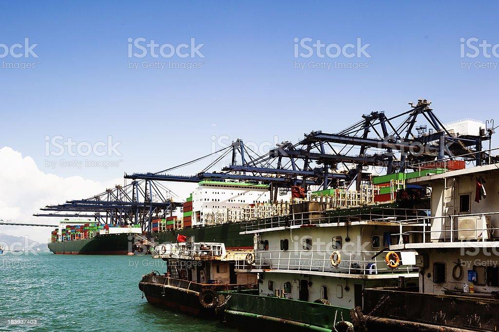 sea port and cranes royalty-free stock photo