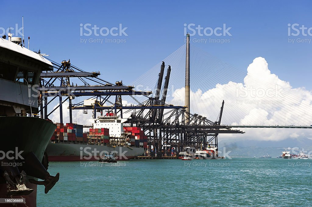 sea port and cranes royalty-free stock photo
