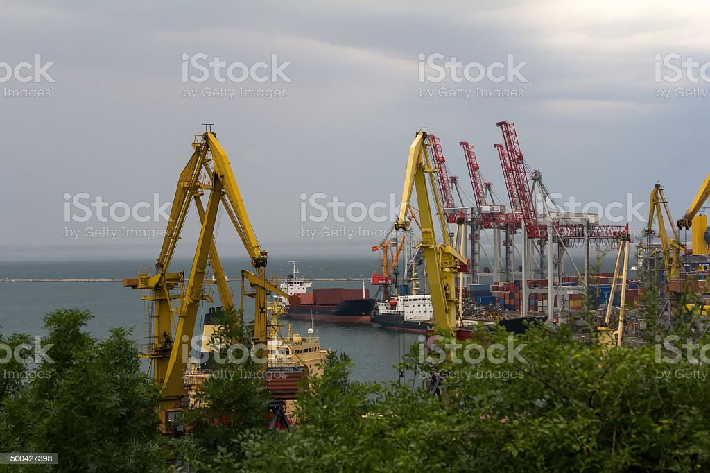 Sea port before the storm stock photo