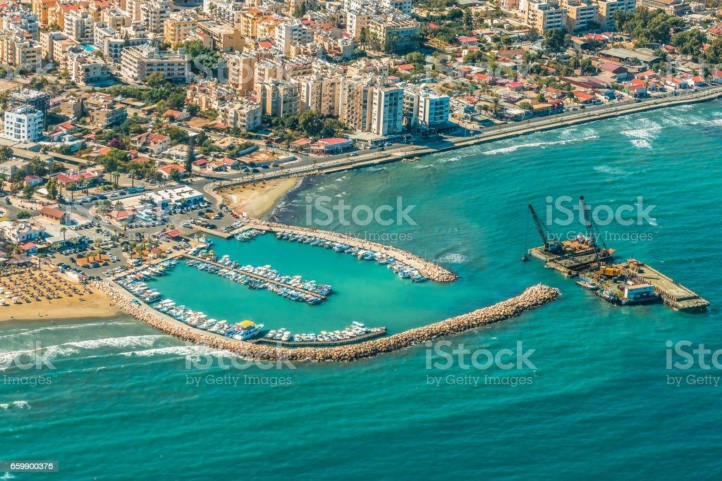 Sea port city of Larnaca, Cyprus. stock photo