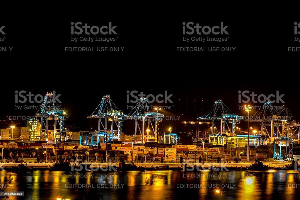 Sea port in Algeciras night stock photo
