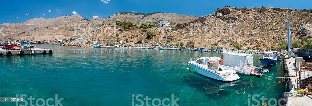 Sea port of Chora Sfakion town on Crete island stock photo