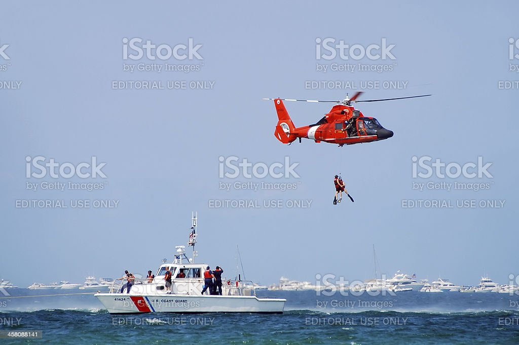 Sea rescue operation stock photo