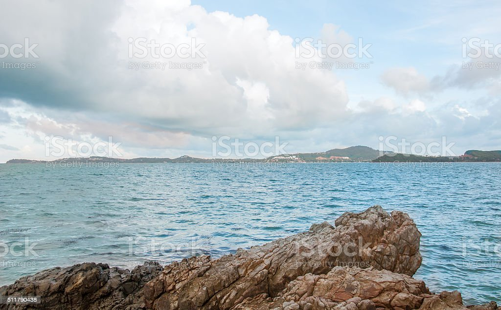 Sea rock in Samui, Thailand stock photo