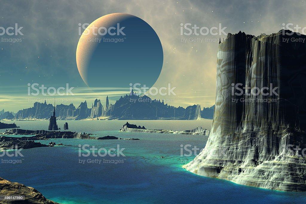Sea, rocks and moon stock photo