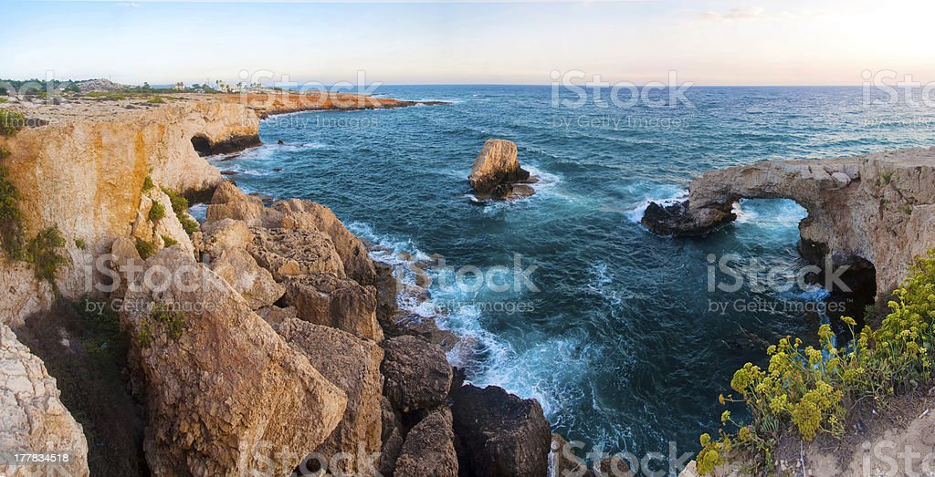 Sea rocky Caves in Ayia Napa, Cyprus stock photo