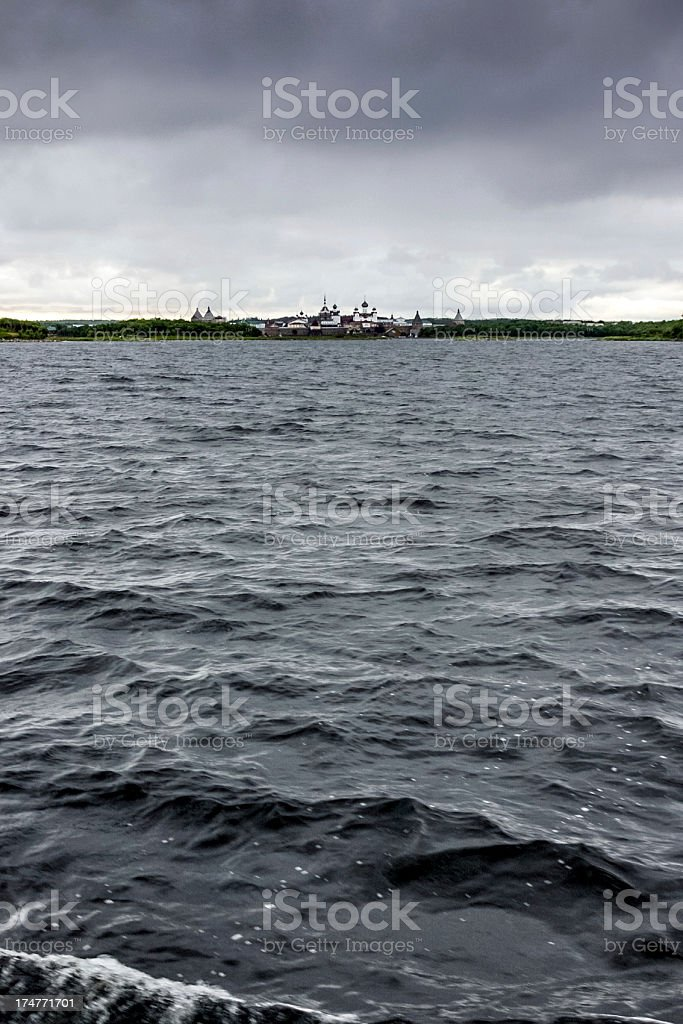 Sea route to Solovetsky Islands stock photo