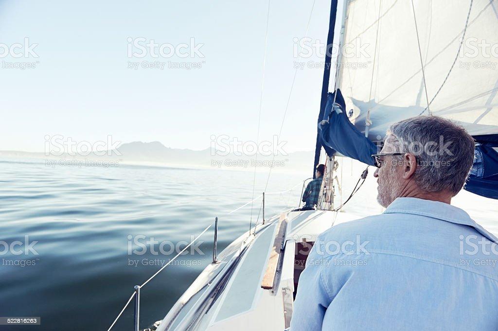 sea sailing man stock photo