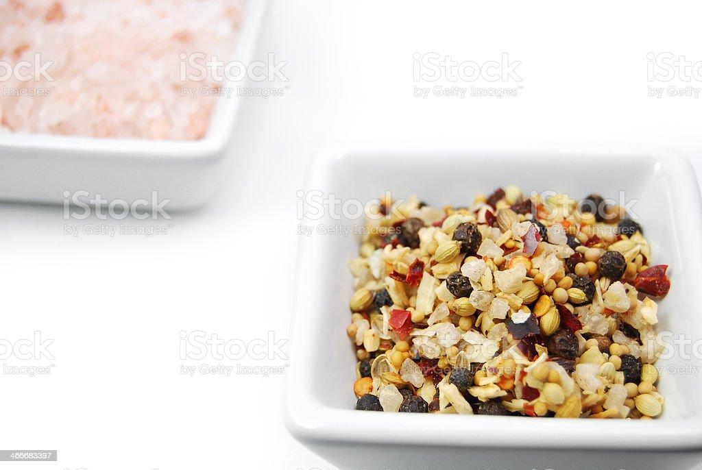Sea Salt and Black Peppercorn Seasoning Mix stock photo