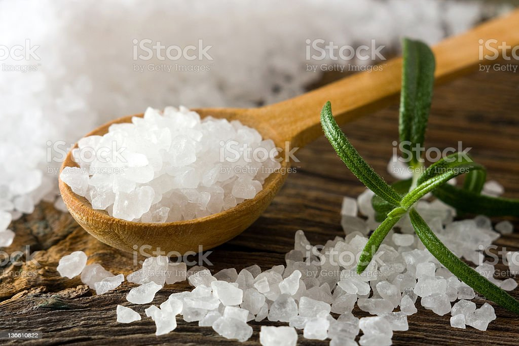 Sea salt and rosemary stock photo