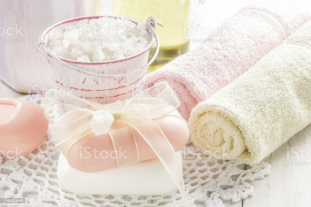 Sea salt and soap royalty-free stock photo